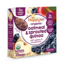Happy Tot Super Morning Oatmeal Bowls Organic Toddler Food Apples and Blueberries, 4.5 Ounce Bowls (Pack of 8) Baby/Toddler Food Breakfast Bowl, Organic Toddler Breakfast, Yogurt Fruit & Oats