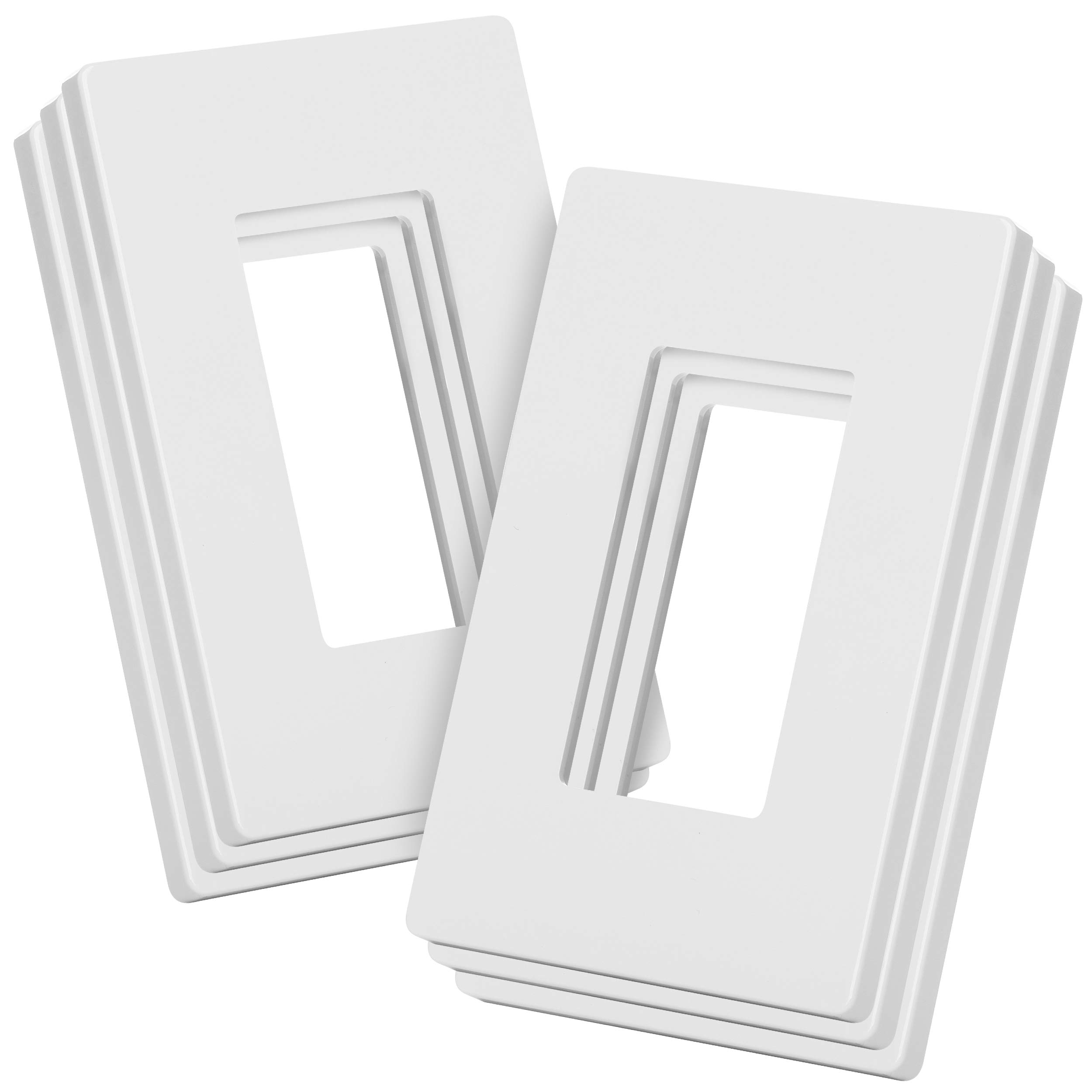 Bates- Screwless Decorator Wall Plates, Switch Plate Covers, 6 Pack, Screwless Wall Plates 1 Gang, White Switch Plate Covers, Switch Cover Plate, Wall Switch Cover, Electrical Outlet Cover Plate