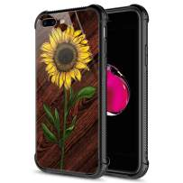 iPhone 8 Plus Case, 9H Tempered Glass Sunflower Wood iPhone 7 Plus Cases [Anti-Scratch] Fashion Cute Pattern Design Cover Case for iPhone 7/8 Plus 5.5-inch Sunflower Wood