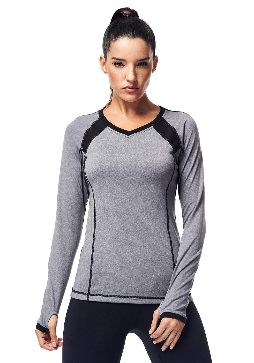 Matymats Women's Active Compression Tops Long Sleeve Workout T-Shirts with Thumb Holes