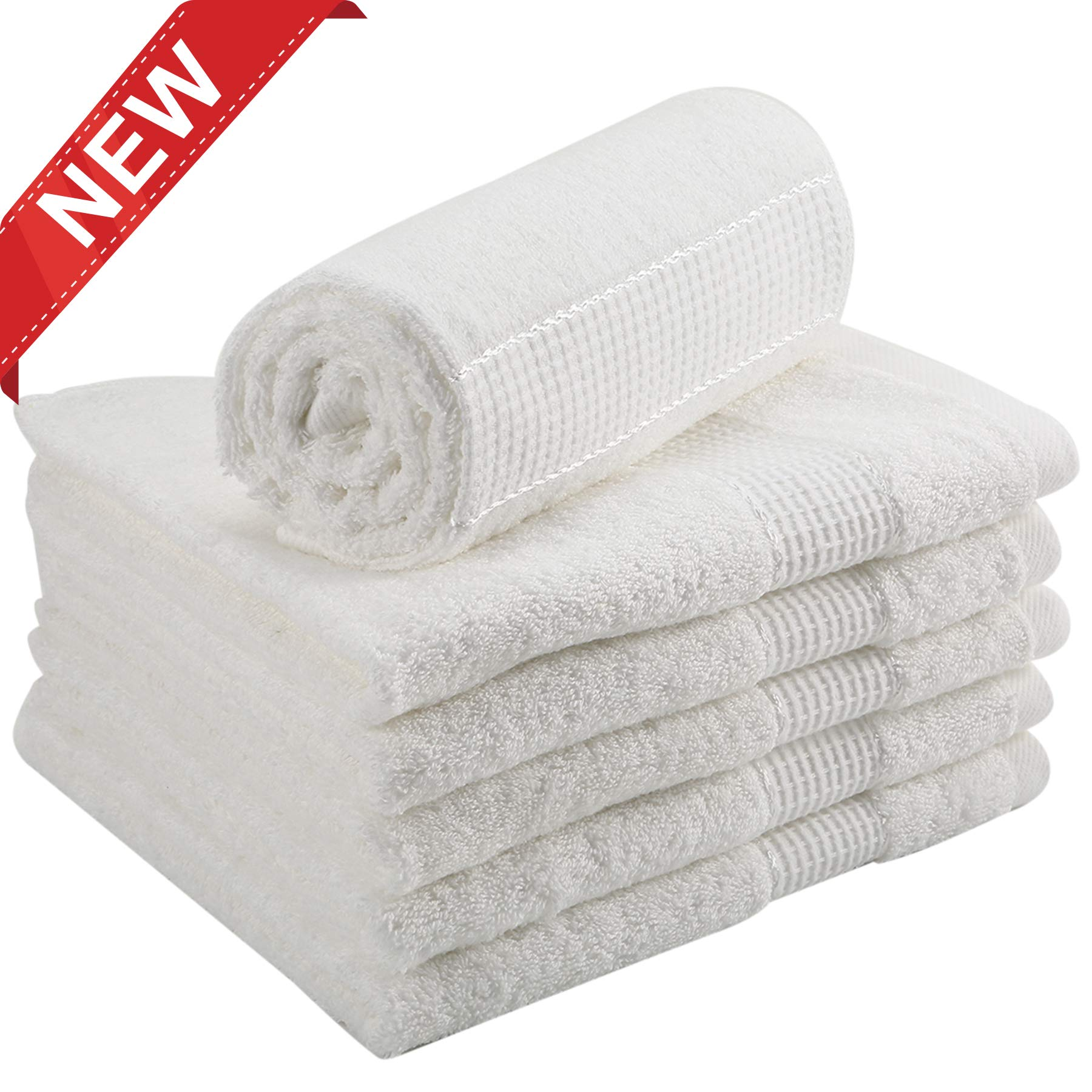 DOZZZ 6 Pack Egyptian Cotton Hand Towels Set for Bathroom Face Gym and Spa with Luxury Soft and Absorbent Hotel Quality