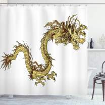 "Ambesonne Dragon Shower Curtain, Fire Dragon Zodiac with Large Claws Power Chinese Astrology Theme Illustration, Cloth Fabric Bathroom Decor Set with Hooks, 70"" Long, White Yellow"