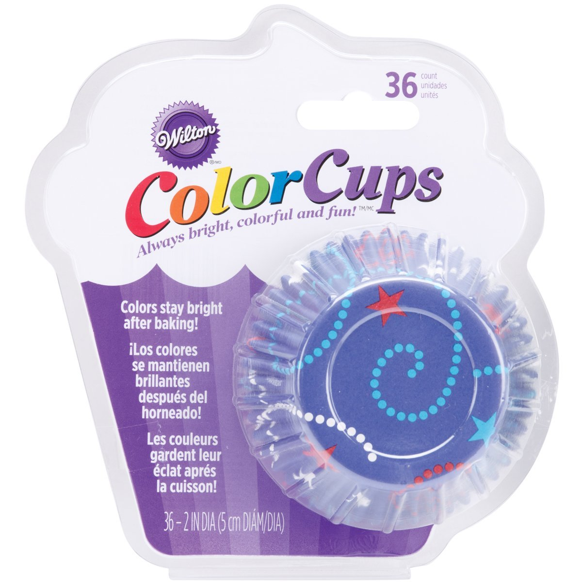 Wilton ColorCups Blue Celebrate Standard Baking Cups, 36 Count