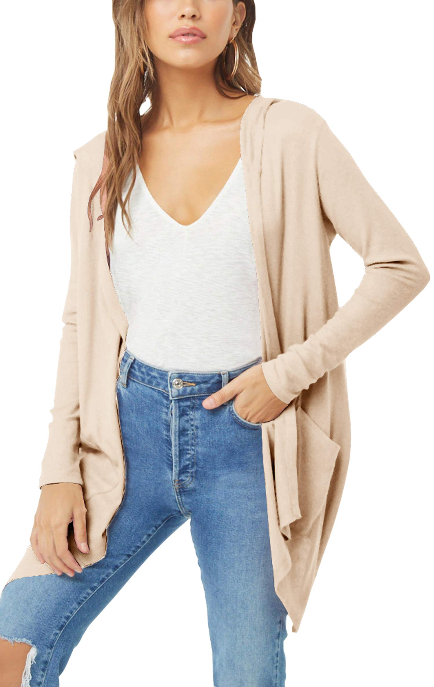 Hibluco Women's Casual Irregular Open Front Cardigans with Hoodie with Pockets