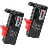 Battery Tester(2 Pack), Tinabless Universal Battery Checker for AA/AAA/C/D / 9V / 1.5V Button Cell Batteries (Model: BT-168)
