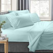 Clara Clark 4-Piece Bed Sheets - Luxury Pleated Sheets Set Bedding Sheet Set, 100% Soft Brushed Microfiber Flat Sheet, Fitted Sheet, Pillowcases Cool & Breathable - Twin - Aqua