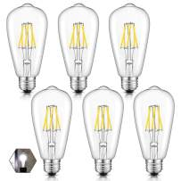 OMAYKEY 6W LED Edison Bulb 5000K Daylight White Glow, 65W Equivalent 650 Lumens, E26 Base Vintage Edison Style ST64 Clear Glass Dimmable LED Filament Light Bulbs, 6 Pack