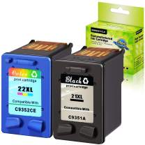 GREENCYCLE 2PK Remanufactured 21XL C9351A Black & 22XL C9352CE Tri-Color Ink Cartridge Set Compatible for HP DeskJet F350 F370 F375 F378 F380 F385