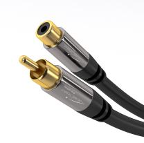RCA Extension Cable, Cord (15 feet short, 1 RCA Female to 1 RCA Male, Subwoofer, Mono, Audio Video Cable, Digital & Analogue, Double Shielded, Pro Series) by KabelDirekt