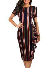 Naive Shine Women's Short Sleeve Retro Polka Dot Office Bodycon Pencil Dress