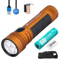 Olight Seeker 2 Pro Orange 3200 Lumens L-Dock Charging Powerful Rechargeable Side-Switch Tactical Flashlight,with 21700 Battery and Battery Case (Limited Edition Orange)