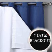 Rose Home Fashion RHF Thermal Insulated Blackout Curtain Liner for 63 inch Curtains-Blackout Curtain Liner White,Black Out Liner,Darkening-Blackout Curtain Liner 47W by 60L Inches-White