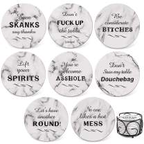 Teivio 8 Piece Coaster for Drinks Absorbing Stone Coasters Set Cork Base, Metal Holder, Marble Funny Style, Birthday Housewarming Gifts, Apartment Kitchen Room Bar Décor (White)