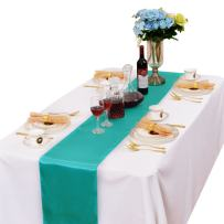 LOVWY Pack of 15 Satin Table Runner 12 x 108 Inches for Wedding Party Engagement Event Birthday Graduation Banquet Decoration (Colors Optional) (Turquoise)