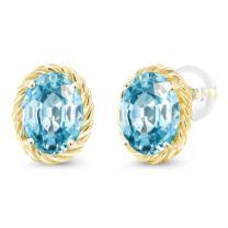 Gem Stone King 14K Yellow Gold Blue Zircon Twist Stud Earrings For Women (3.33 Cttw Oval 8X6MM)