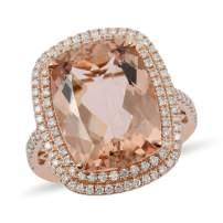 ILIANA 18K Rose Gold AAA Premium Morganite Diamond Bridal Anniversary Ring Jewelry Gift for Women Ct 8.9 G-H Color SI1