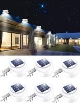 ROSHWEY Solar Lights Outdoor, LED Fence Lights Waterproof Deck Lights Gutter Lights for Eaves Garden Landscape Pathway (Cool White, 6 Pack)