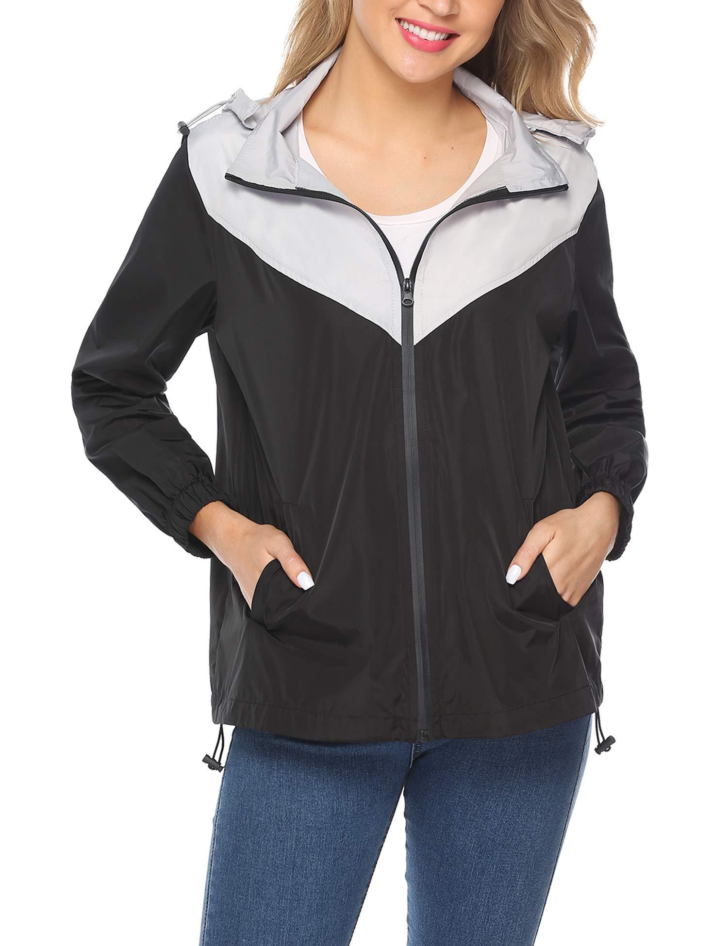 iClosam Women Hood Lightweight Windbreaker Active Outdoor Packable Waterproof Raincoat Rain Jacket S-XXL