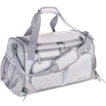 """Gym Bag, Sports Duffle with Shoes Compartment & Wet Pocket & Water Resistance Pouch, Men Women, 31L (17""""), Gray"""