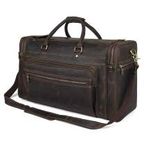 """Polare 23.6"""" Retro Full Grain Leather Duffel Weekender Travel Overnight Luggage Bag With YKK Zippers"""