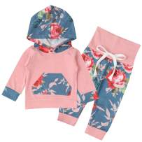 Newborn Baby Girl Clothes Baby Boy Outfits Long Sleeve Floral Pocket Hoodie Sweatshirt Tops with Pants Winter Outfits Sets