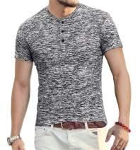 YTD Mens Fashion Casual Slim Fit Basic Henley Short Sleeve Lightweight Summer T-Shirt