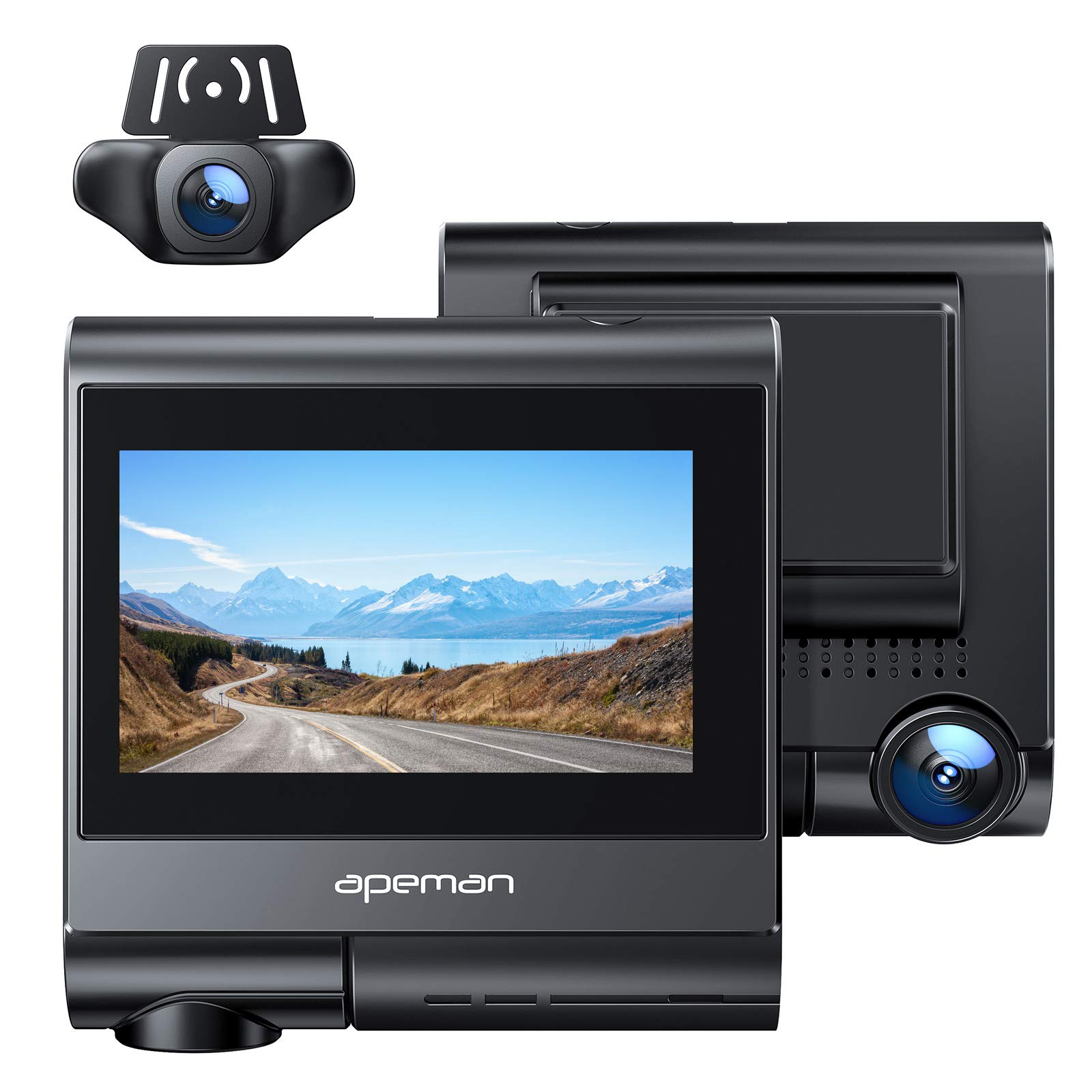 APEMAN 4K max Dash Cam with OLED Touch Screen, Built-in GPS, Wi-Fi, Both 1080P Front and Rear Dual Dash Camera for Cars with Sony Sensor, Parking Mode, Motion Detection, G-Sensor