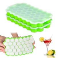 Ice Cube Trays 2 Pack, Morfone Silicone Ice Tray with Removable Lid Easy-Release Flexible Ice Cube Molds 37 Cubes per Tray for Cocktail, Whiskey, Baby Food, BPA Free and LFGB Certified