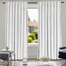 """cololeaf Back Tab/Rod Pocket 2 in 1 Heading Velvet Curtain Panel Privacy Protect Drapery for Bedroom Living Room in Off White 52"""" W x 96"""" L (1 Panel), Birkin Collection"""