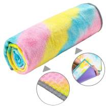 adorence Non Slip Yoga Towel (Upgraded PVC Grippies+Side Pockets) Microfiber Sweat Absorbent & Quick Dry Mat Towel - Ideal for Hot Yoga, Pilates and Workout