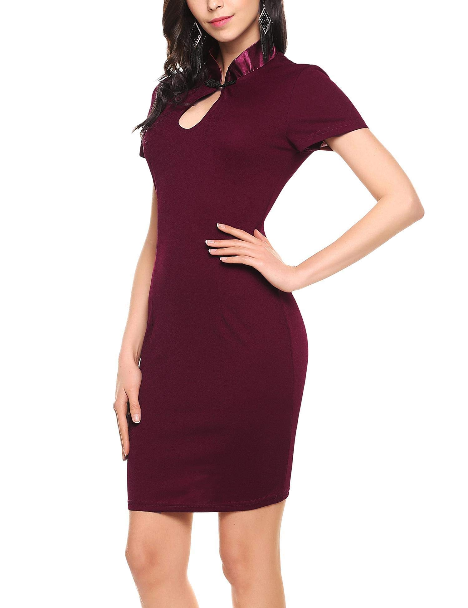 ANGVNS Women's Sexy Business Bodycon Pencil Formal Keyhole Work Dress