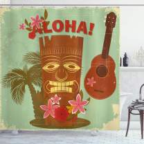 """Lunarable Vintage Hawaii Shower Curtain, Old School Hawaiian Image Floral Elements Guitar and Palm Trees, Cloth Fabric Bathroom Decor Set with Hooks, 75"""" Long, Multicolor"""