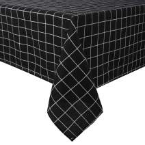 Lewondr Checked Tablecloth, Rectangular Cotton Linen Dust-Proof Washable Table Cover Kitchen Tabletop Stylish Cloth 55 x 118 Inch for Picnic Restaurant Party - Black