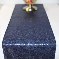 FancyGift 11.5 x 72-inch Glitter Dark Blue Sequin Table Runner for Wedding Birthday Party Home Festival Baby Shower Decorations Celebrations and Events
