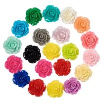 Craftdady 20Pcs Resin Rose Flower Flat Back Cabochons 18-20mm Undrilled Opaque Random Mixed Colors for Scrapbooking Jewelry Making