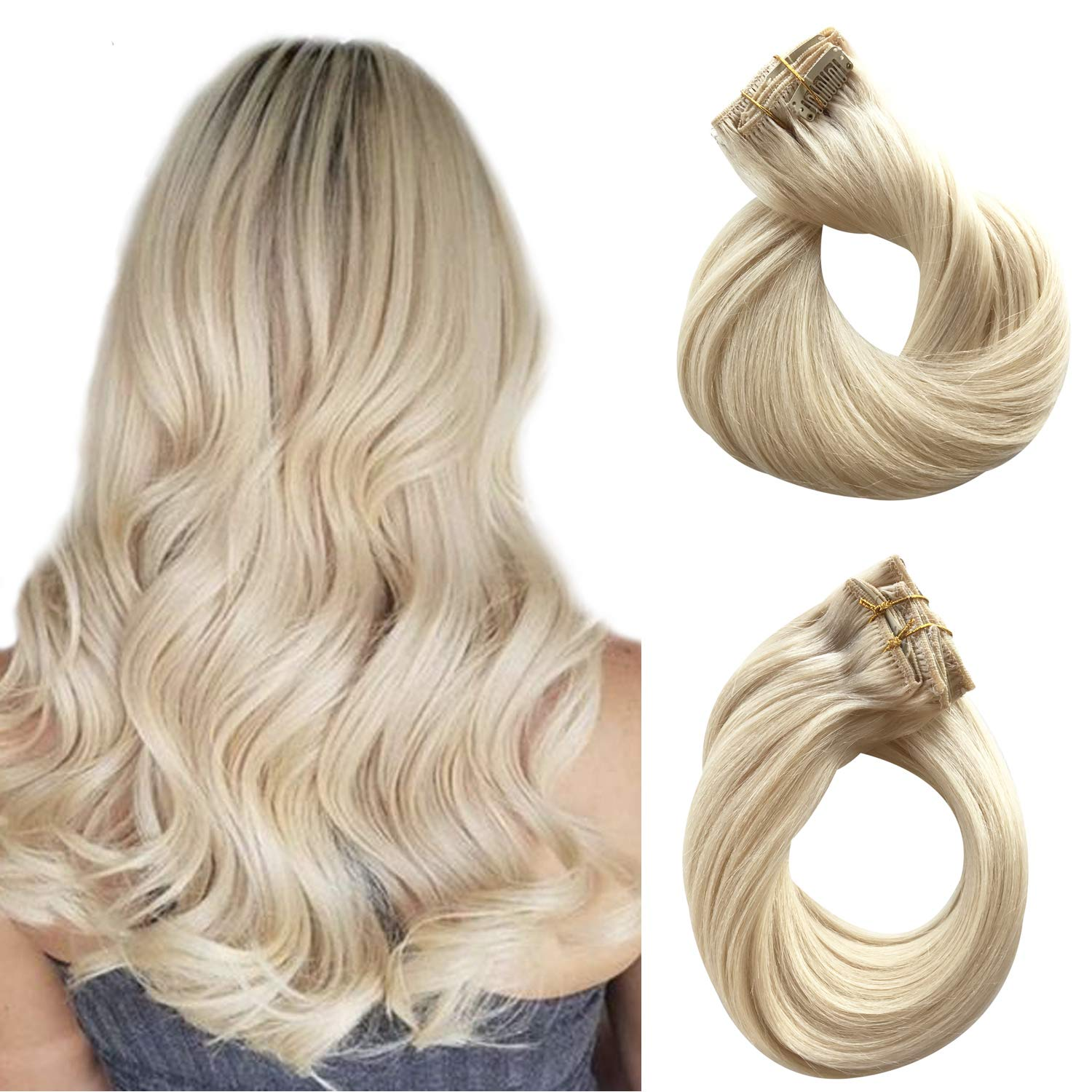 Clip in Hair Extensions Human Hair Platinum Blonde Real Remy Hair Extensions Clip on for Black Women 100% Brazilian Virgin Hair 120g Double Weft Full Head Straight Ponytail 7pcs 17 Clips 14 Inch