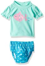 KIKO & MAX Girls' Baby Rashguard and Diaper Cover Swim Set, Mint Fish, S