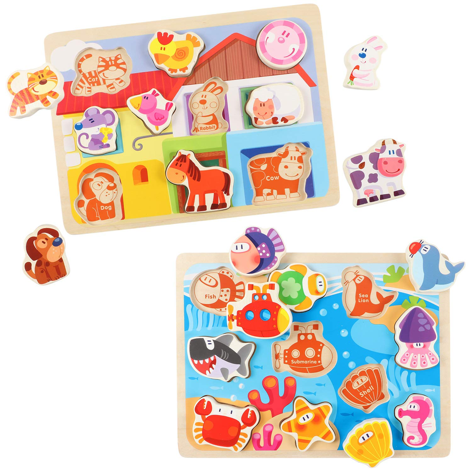 Lewo Wooden Chunky Puzzle Farm and Fish Puzzle Board Preschool Learning Educational Toys for Toddlers (Pack of 2)