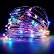 Battery Operated Fairy String Lights, Led Mini String Lights 50 LED 16.5 FT Battery Powered Sliver Wire Starry Fairy Lights for Indoor Outdoor Wedding Home Garden Party Decoration(Multi Color)