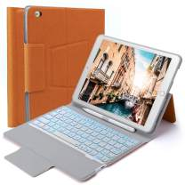 Beeasy iPad Keyboard Case 9.7 inch for iPad 2018 6th Gen,iPad 2017 5th Generation,iPad Air 2 and Air 1,iPad Cover Built-in Wireless BT Keyboard with Pencil Holder &7 Color Backlit, Slim&Durable,Orange