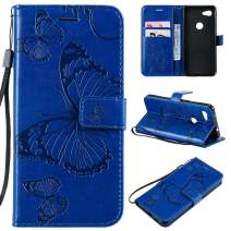 Cmeka 3D Butterfly Wallet Case for Google Pixel 3a XL with Credit Card Slots Holder Magnetic Closure Slim Flip Leather Kickstand Function Protective Case Blue