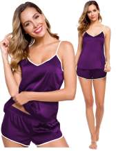 SWOMOG Womens V Neck Sexy Lingerie Silk Satin Pajamas Cami Shorts Set Nightwear