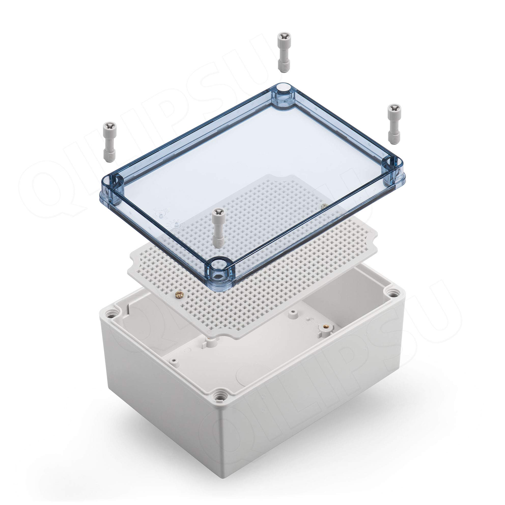 "QILIPSU Junction Box With Mounting Plate 200x150x100mm, Clear Cover Plastic DIY Electrical Project Case IP67 Waterproof Dustproof Enclosure Grey (7.9""x5.9""x3.9"")"