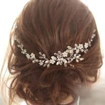 Unicra Wedding Flower Hair Vine Bridal Leaf Headpiece Headbands Wedding Crystal Hair Accessories for Brides and Bridesmaids (Silver)