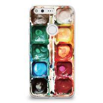 CasesByLorraine Google Pixel Case, Watercolor Paint Box Clear Transparent Case Slim Hard Plastic Back Cover for Google Pixel (A2302)