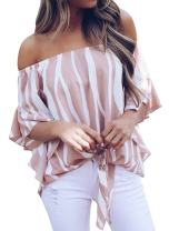 Silindashop Womens Summer Off The Shoulder Tops 3/4 Bell Sleeves Sexy Striped Tie Knot T-Shirt Blouse Women Blouse