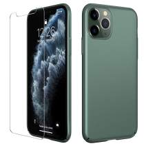 Meifigno Simplicity Series iPhone 11 Pro Max Case [with Tempered Glass Screen Protector], Ultra Thin Hard Plastic Case, Slim Fit Matte Phone Cover for iPhone 11 Pro Max 6.5 Inch 2019, Midnight Green…