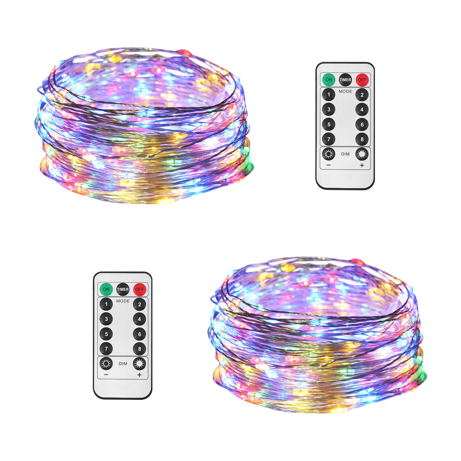 JMEXSUSS 2 Pack String Lights 8 Modes Timer Remote Control Fairy String Light 200 LED 65.6ft Battery Operated Waterproof Dimmable Copper Wire Lights for Christmas, Room, Wedding (200LED Multi-Color)