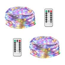 JMEXSUSS 2 Pack Fairy String Lights Battery Operated, 8 Modes 100 LED 32.8ft Timer Remote Control Waterproof Dimmable Copper Wire Lights for Christmas Room Wedding Indoor Decorative (Multicolor)