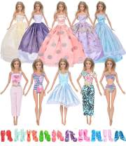 ebuddy 20pcs/Set Doll Clothes Include 6pc Random Style Princess Dresses 2pc Bikinis 2pc Outfits and 10-Pairs Shoes for 11.5 inch Doll